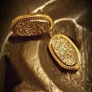 Gold with silver oval stud earrings